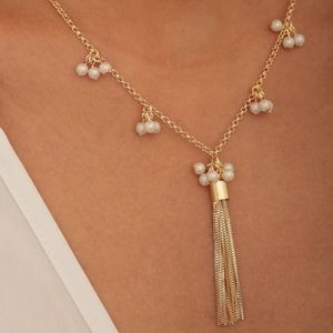 Gold Tassel and pearls necklace